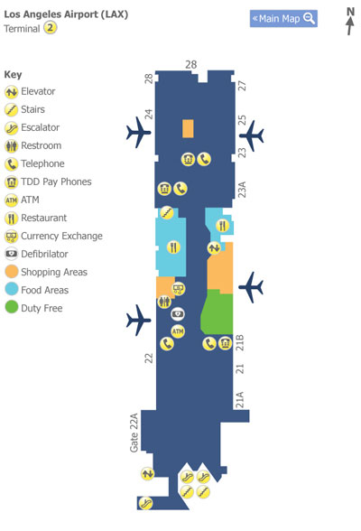 Los Angeles Airport (LAX) Terminal 2 Map - Map of Terminal 2 at Los on